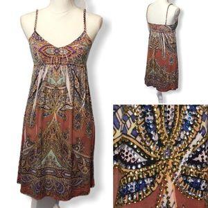 S-Twelve - Sz S - braided straps rhinestone dress